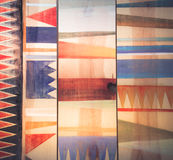 Testes padrões geométricos abstratos na madeira Fotos de Stock Royalty Free