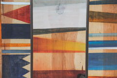 Testes padrões geométricos abstratos na madeira Fotografia de Stock Royalty Free