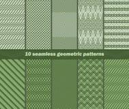 10 testes padrões geométricos abstratos sem emenda em cores verdes Ilustração Royalty Free