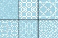 Testes padrões geométricos Coleção da luz - fundos sem emenda azuis Fotografia de Stock Royalty Free