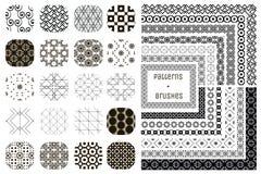20 testes padrões geométricos do vetor e 12 escovas do teste padrão Imagem de Stock Royalty Free