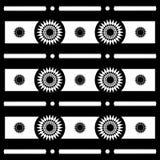 Testes padrões geométricos em preto e branco, vetor do motivo abstrato de Sun Fotografia de Stock Royalty Free