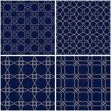 Testes padrões geométricos Grupo de fundos sem emenda azuis dourados Imagem de Stock Royalty Free