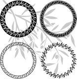 Testes padrões helénicos antigos nos anéis Fotografia de Stock