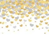 Testes padrões ilustrados vetor do dia do ` s do Valentim Fundos bonitos do casamento da telha com corações de ouro e de prata Fotos de Stock Royalty Free
