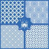 Testes padrões islâmicos sem emenda ajustados no azul Imagens de Stock