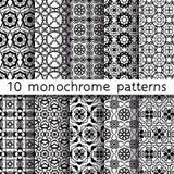 10 testes padrões monocromáticos do vintage para o fundo universal Imagem de Stock Royalty Free
