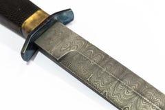 Testes padrões na lâmina do punhal do damasco Imagem de Stock