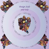 Testes padrões no fundo lilás redondo com elementos decorativos ilustração royalty free