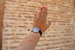 Testes padrões orientais Testes padrões da hena na mão de uma moça Fotos de Stock Royalty Free