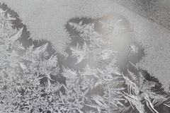 Testes padrões originais do gelo no vidro de janela Imagem de Stock Royalty Free