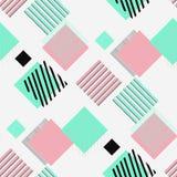 Testes padrões retros sem emenda com quadrados e tiras Fotografia de Stock Royalty Free