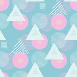 Testes padrões retros sem emenda com triângulos e círculos Fotos de Stock Royalty Free