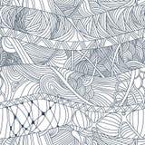 Testes padrões sem emenda abstratos com as ondas desenhados à mão e as linhas da garatuja Fotos de Stock