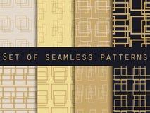Testes padrões sem emenda ajustados com linhas e quadrados Ouro e cor preta Ilustração do vetor Fotos de Stock Royalty Free