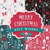 Testes padrões sem emenda ajustados, disposição do Feliz Natal dos feriados Projeto retro da etiqueta Fundo do ano novo feliz, pa Imagens de Stock Royalty Free