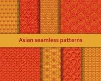 Testes padrões sem emenda asiáticos tradicionais ajustados Motivos decorativos detalhados Cores vermelhas e alaranjadas Ilustraçã ilustração do vetor