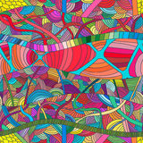 Testes padrões sem emenda com as ondas desenhados à mão e as linhas da garatuja Imagens de Stock