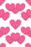 Testes padrões sem emenda com corações ilustração do vetor