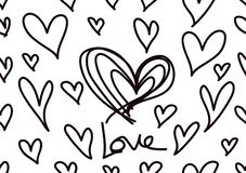 Testes padrões sem emenda com corações pretos, fundo do amor, vetor da forma do coração, dia de Valentim, textura, pano, papel de ilustração do vetor