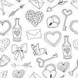 Testes padrões sem emenda com elementos do amor e do casamento ilustração do vetor