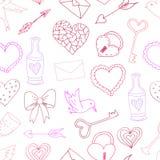 Testes padrões sem emenda com elementos do dia do ` s do Valentim ilustração stock