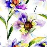 Testes padrões sem emenda com flores de Gerber Imagens de Stock Royalty Free
