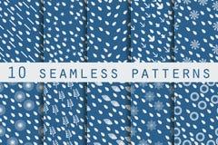 10 testes padrões sem emenda com gotas O teste padrão para o papel de parede, as telhas, as telas e os projetos Ilustração do Vetor