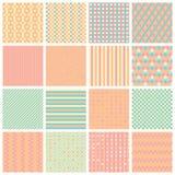 Testes padrões sem emenda com listras, estrelas, tijolos ilustração stock