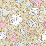 Testes padrões sem emenda com símbolos, marisco e moluscos do verão sobre ilustração do vetor