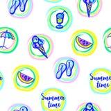 Testes padrões sem emenda com tema do verão imagem de stock royalty free