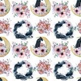 Testes padrões sem emenda da aquarela com luas, panteras e os ramalhetes florais Fotos de Stock