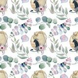 Testes padrões sem emenda da aquarela com luas, panteras e os ramalhetes florais Fotografia de Stock Royalty Free