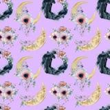 Testes padrões sem emenda da aquarela com luas, panteras e os ramalhetes florais Imagens de Stock Royalty Free
