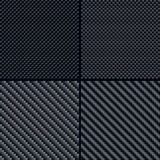 Testes padrões sem emenda da fibra do carbono ajustados Fotografia de Stock