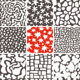Testes padrões sem emenda da garatuja abstrata ajustados Imagens de Stock Royalty Free