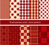 Testes padrões sem emenda da manta da tartã vermelha de matéria têxtil da coleção Fundo do vetor Fotografia de Stock