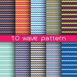 10 testes padrões sem emenda da onda para o fundo universal Foto de Stock Royalty Free
