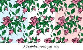 3 testes padrões sem emenda das rosas Foto de Stock Royalty Free