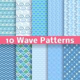 Testes padrões sem emenda diferentes da onda (telha). Vetor Foto de Stock Royalty Free