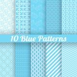 10 testes padrões sem emenda diferentes do azul (telha) Fotografia de Stock