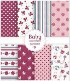 Testes padrões sem emenda do bebê. Grupo do vetor. Imagem de Stock Royalty Free