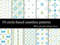 10 testes padrões sem emenda do círculo fotografia de stock