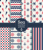 Testes padrões sem emenda do mar. Coleção do vetor. Fotos de Stock