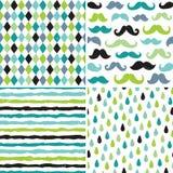 Testes padrões sem emenda do moderno nos azuis e nos verdes Fotografia de Stock Royalty Free