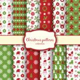 Testes padrões sem emenda do Natal ajustados Imagens de Stock Royalty Free