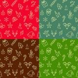 Testes padrões sem emenda do Natal ajustados Foto de Stock Royalty Free