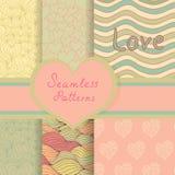 Testes padrões sem emenda do Valentim do vintage ajustados Fotografia de Stock Royalty Free