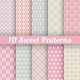 Testes padrões sem emenda do vetor bonito doce (telha) Imagens de Stock
