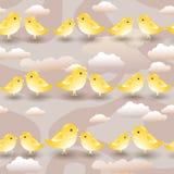 Testes padrões sem emenda do vetor com desenhos animados amarelos Imagens de Stock